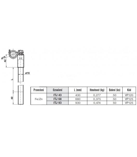 Izolační tyč pro jímací tyč 680mm ITJ 68 Tremis VP125