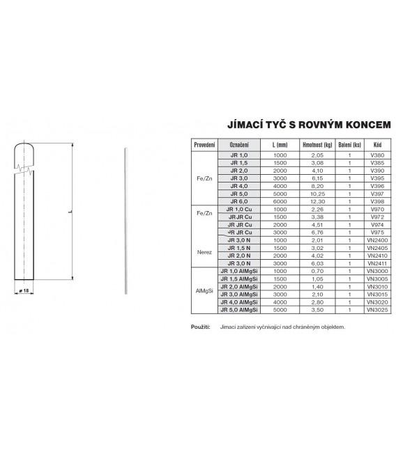 Jímací tyč s rovným koncem JR 2.0 Tremis V390