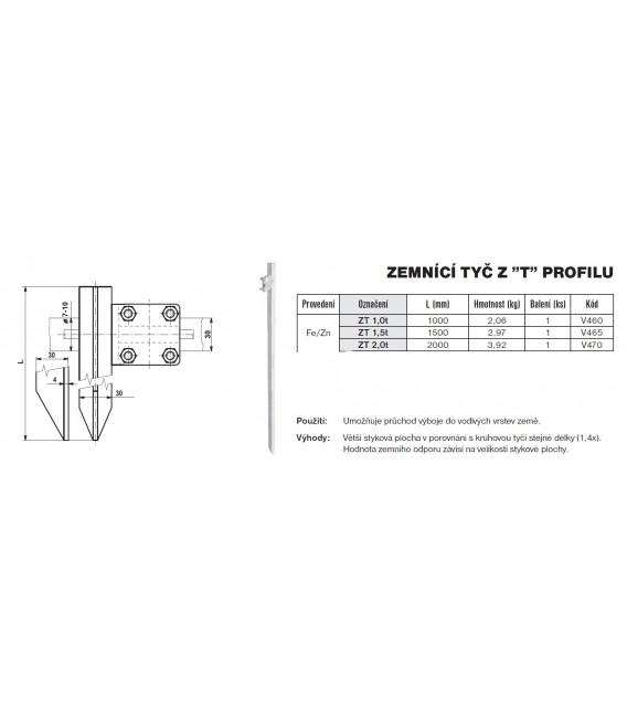 Zemnící tyč z T profilu ZT 1,5 T Tremis V465