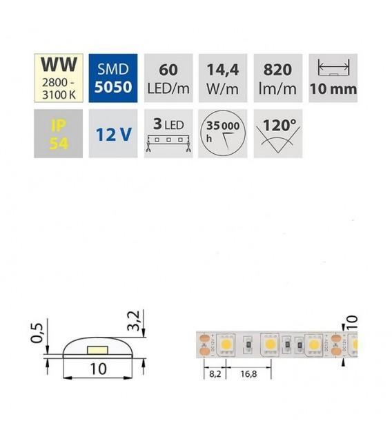 LED pásek McLED SMD5050 teplá bílá 14,4W/m 12V IP54 10mm 60LED/m ML-121.607.60.0