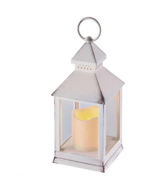 LED lucerna EMOS ZY2114 antik bílá, 3×AAA, blikající světlo, s časovačem