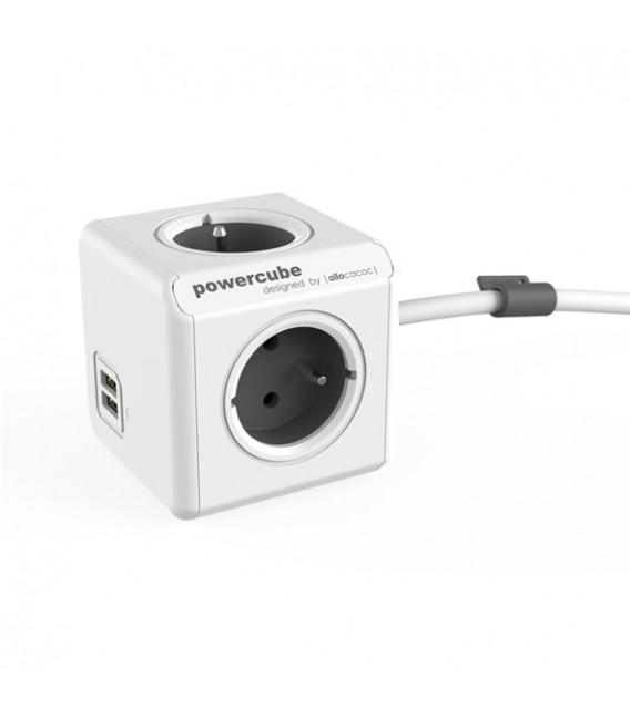 POWERCUBE EXTENDED USB 4X230V - USB - 1,5m prodlužovací kabel šedá